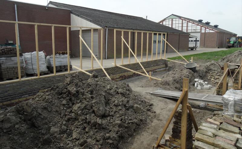 Nieuwbouw van een schuur